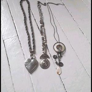 3 necklaces silver tones